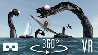 VR 360 3D video: Sea Monsters. Virtual Reality Scary Videos for Oculus Go, VR Box, Samsung Gear VR