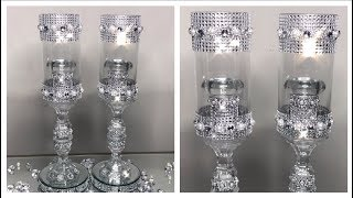 DOLLAR TREE DIY - DIAMONDS AND PEARLS WEDDING CANDLE HOLDERS | WEDDING SERIES PART (2) 2019
