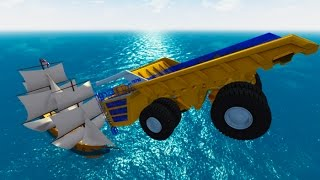 Destroying Pirate Ships With Heavy Cars #4 BeamNG.drive