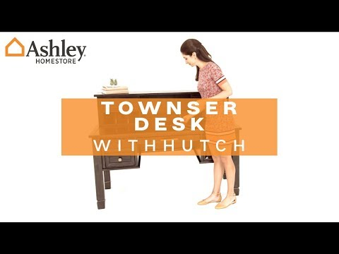 grayish brown townser home office desk with hutch view 4 video