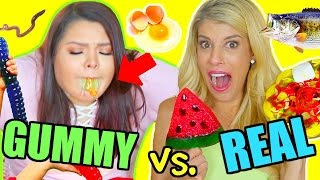 Gummy Food vs. Real Food Challenge! *GONE WRONG I ALMOST DIED*