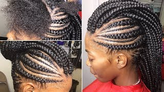 Braided Mohawk Updo On Natural Hair