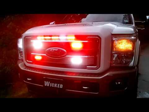 2011 F-350 RED/WHITE DUAL strobe led emergency light  www.WickedWarnings.com