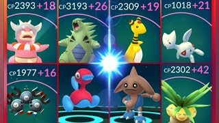 Slowking  - (Pokémon) - Pokémon GO Evolving & Maxing out 100% IV Slowking~Ampharos Tyranitar Porygon 2 Togepi & more