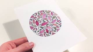 DRAWING WATERCOLOR LEAVES - LEAF ART ILLUSTRATION PAINTING - STUDIO VLOG -BOTANICAL  SPEEDPAINTING