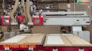 MÁY CNC TRUNG TÂM 2 Bàn Woodmaster 2 trục Router thay dao và 1 Trục lưỡi cưa cắt đa chiều