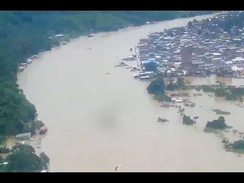 Desbordamiento del rio Telembi arraso con 47 viviendas en Barbacoas