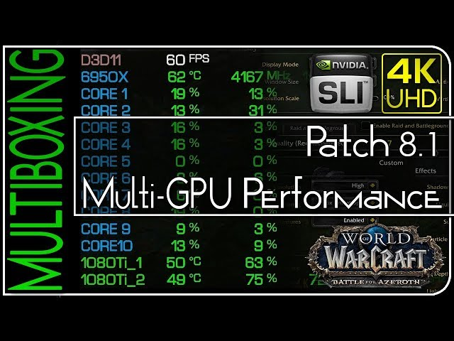 World of Warcraft — Patch 8.1 Multi-GPU Performance (Multiboxing)