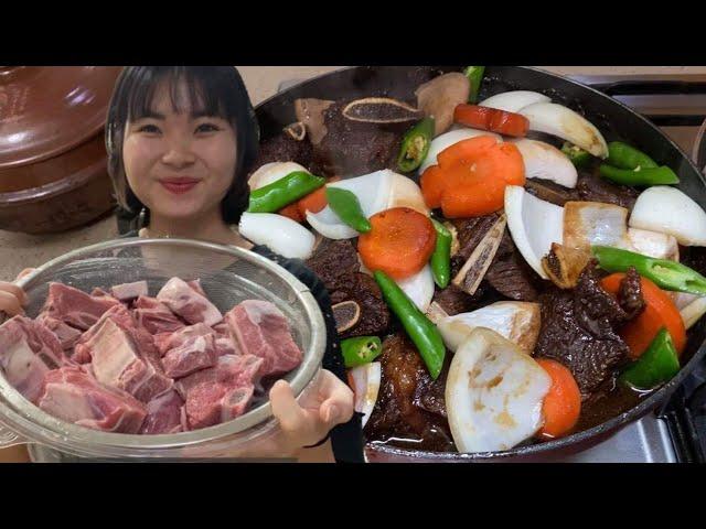 Dâu Việt nấu món sườn bò hầm갈비찜 cả nhà đều bất ngờ