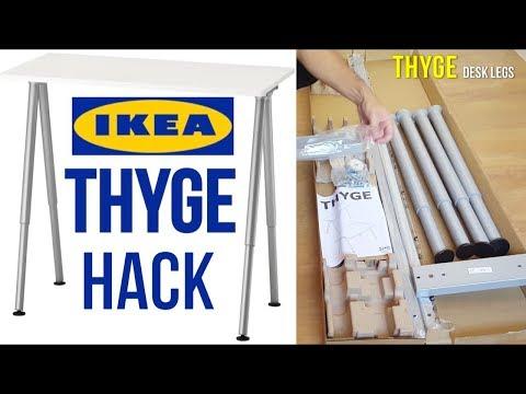 IKEA THYGE Desk Assembly Hack - THYGE Desk legs + LINMON Table Top