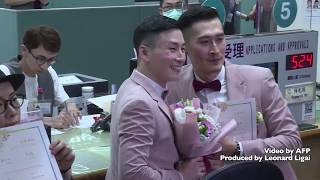Taiwan makes history with Asia's first legal gay weddings as