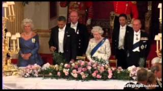 US President Barack Obama suffers embarrassing royal toast mishap at Queen