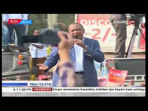 President Uhuru Kenyatta's lashes out at rival Raila Odinga on campaigns at Ongata Rongai