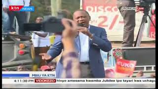 President Uhuru Kenyatta's lashes out at rival Raila Odinga on campaigns at Ongata Rongai