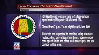 I-20 Westbound Lane Closure