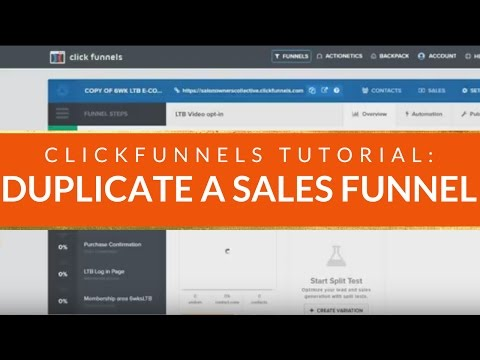 CLICKFUNNELS TUTORIAL: How to Duplicate a Sales Funnel in Click Funnels