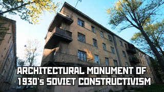 Awesome Architectural Monument Of 1930s Soviet Constructivism (40th Block) In St Petersburg, Russia