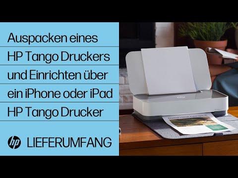 Auspacken eines Druckers der HP Tango Druckerserie und Einrichten über ein iPhone oder iPad