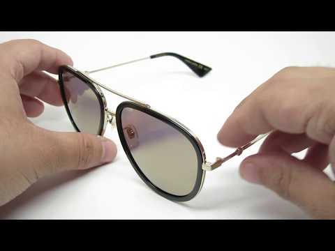 Gucci GG0062S 001 Aviator Mirrored Sunglasses
