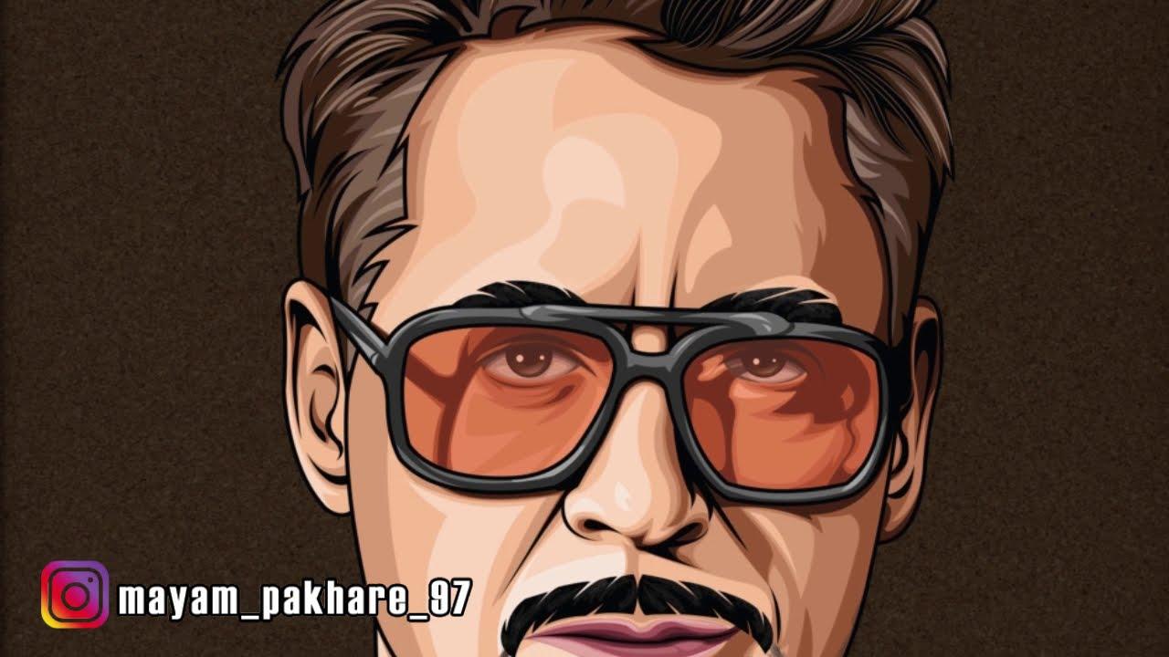 vector portrait art robert downey jr on the adobe illustrator by mayan pakhare