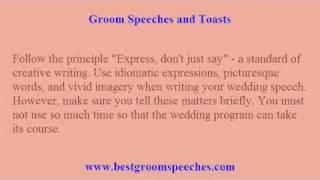 Groom Wedding Speeches - 3 Tips to Worry-Free Writing of Wedding Speeches
