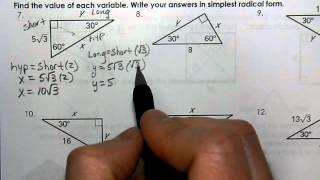 Geometry Unit 7 Day 4   HW WS   Special Right Triangles