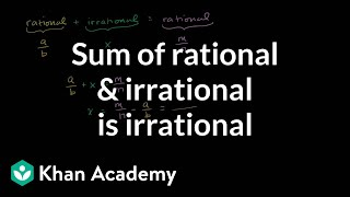 Proof that sum of rational and irrational is irrational | Algebra I | Khan Academy