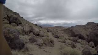 Riding the downhill on the Alabama Hills Trail