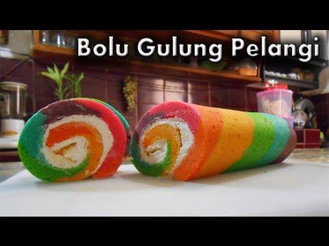 Video Bolu Gulung Pelangi - Resep Bolu Gulung Pelangi (Rainbow Roll Cake)