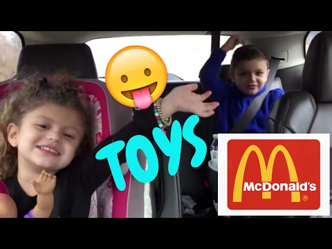 Baby Gia and Gav eat McDonald's get Happy Meal, TOYs, and visit PARK!