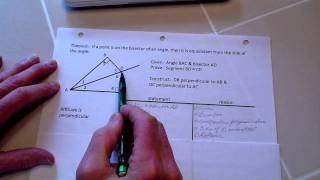 Proof: Point On Angle Bisector Equidistant From Side Of Angle And Its Converse Theorem.