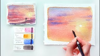 Pink Sunset. Watercolor tutorial.