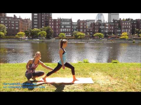 How to do Crescent Pose - CardiYoFit.com Instruction Video - Yoga Poses