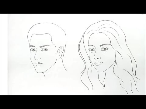 how to draw male and female faces for Beginners