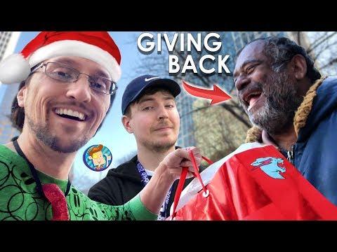 FEEDING THE HOMELESS!! Tis' the Season of Giving Back like MR. BEAST ... or Not (FV Family Vlog)