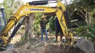 ขุดดินแข็งเข้าไม!! รถขุดเล็ก YANMAR 35 ขุดดินซ่อมแซมงานประปา