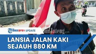 Bosan dengan Pandemi, Lansia Ini Jalan Kaki 880 Km, Berharap Covid-19 Hilang saat HUT Ke-76 RI