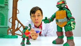Игры с доктор Ой - Черепашки Ниндзя видео с игрушками