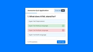 Create a Quiz App with Timer using HTML CSS & JavaScript | Quiz Web App in JavaScript