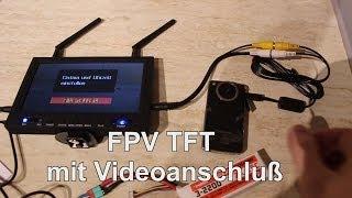 "5,8GHz FPV Empfänger - FPV Diversity 7""TFT LCD Receiver Monitor Rx Videoinputtest"