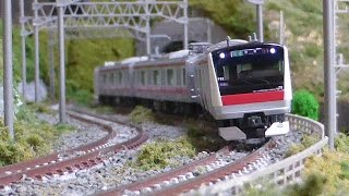 Nゲージ E233系5000番台 京葉線 (KATO) 走行シーン集