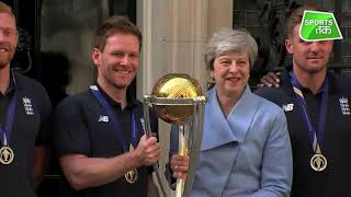 British PM May welcomes England cricket team after World Cup win