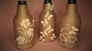 DIY - Simple Bottle Art Decoration | 3 Bottle Design Craft Ideas With Jute