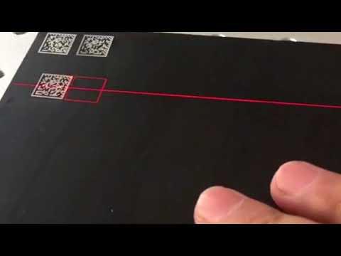 Laser marking engraving datamatrix on black anodized aluminum