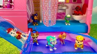 Learn Colors with Paw Patrol Barbie Camper RV Pool Swimming Bathroom | Fizzy Fun Toys