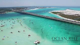 Flying over Crab Island in Destin, Florida