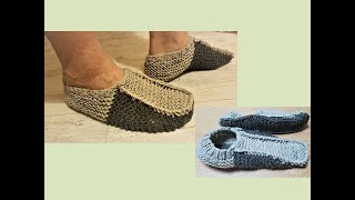 Knit Slippers For Man [tutorial]. Seamless. Easy And Simple.