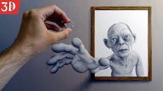 3д рисунок карандашом. Властелин колец. Объемный портрет!