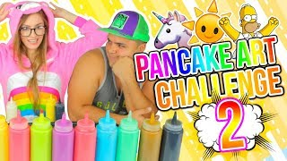 DIBUJOS QUE SE COMEN! 🍭🦄 Unicornio, Simpsons! PANCAKE ART CHALLENGE 2!! | Katie Angel