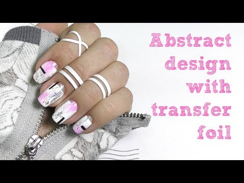 Abstract nail art design with transfer foil